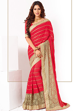 Georgette Red N Beige Saree