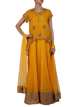 Ginaz Dark Yellow Net Anarkali Suit