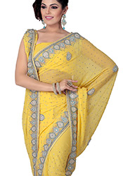 Glamorous Look Crystals Enhanced Chiffon Saree