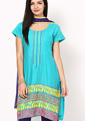 Gleaming Turquoise Chanderi Plus Size Churidar Sui