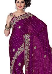 Glorious Look Crystals Enhanced Chiffon Saree