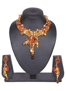 Gold Antique Tradisiya Floral Necklace Set