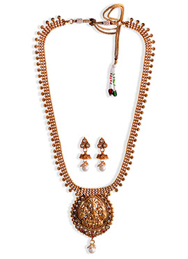 Gold Beads N Stones Necklace Set