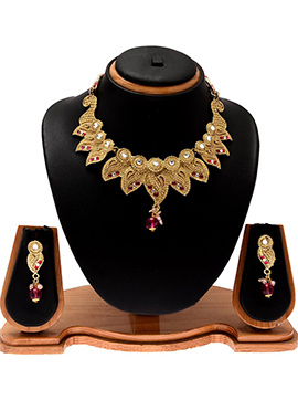 Gold Color Foliage Designed Necklace Set