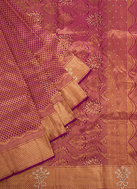 Gold Color N Purple Pure Kancheepuram Silk Saree