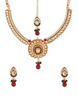 Gold Color Stone Enhanced Necklace Set
