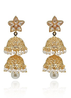 Gold Colored Stone studded Layered Jhumkas
