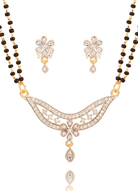Gold Floral Style Stone Studded Magalsutra
