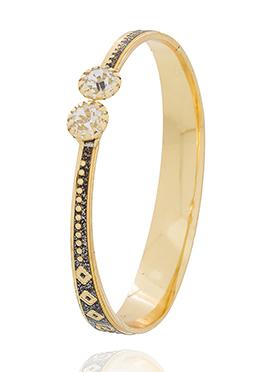 Gold N Black American Diamonds Stud Bracelet