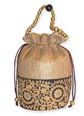 Gold N Black Brocade Potli Bag