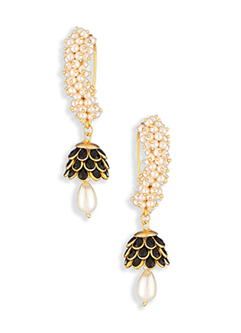 Gold N Black Colored Pearl Studded Hoops