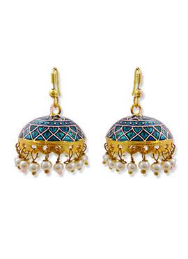 Gold N Blue Color Hoop Jhumka