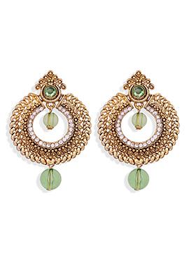 Gold N Green Stone Studded Drop Earrings