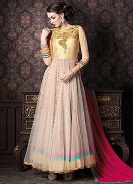 Gold N Light Beige Ankle Length Anarkali Suit