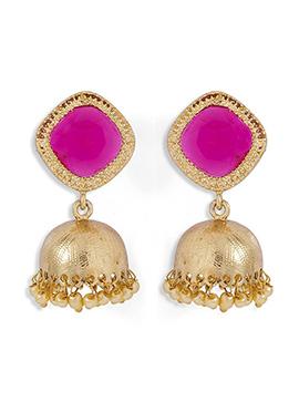 Gold n Pink Jhumka Earring