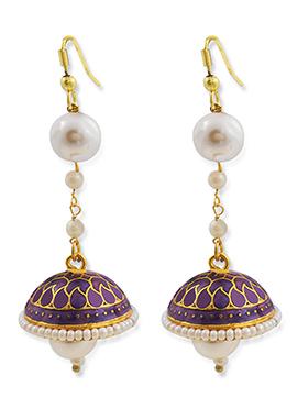 Gold N Purple Color Dangler Jhumka