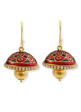 Gold N Red Color Hoop Jhumka