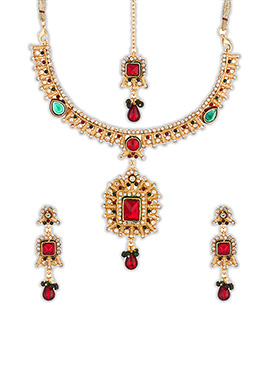 Gold N Red Necklace Set