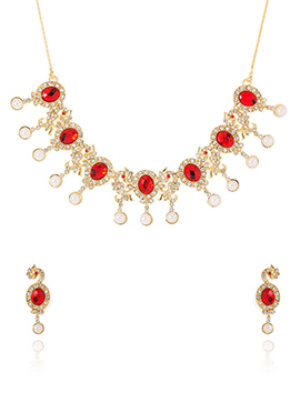 Gold N Red Stone Studded Necklace Set