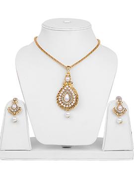 Gold N White Beads Pendant Set