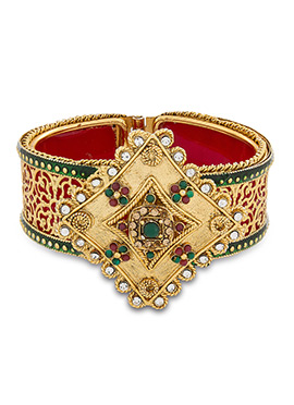 Golden American Diamond N Meenakari Bracelet