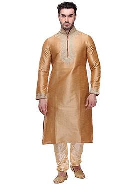 Golden Beige Art Dupion Silk Kurta Pyjama