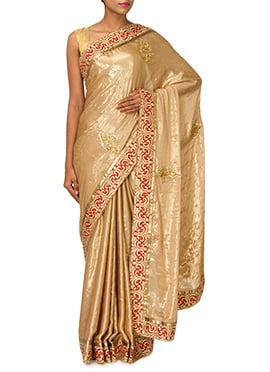 Golden Beige Crepe Embellished Saree