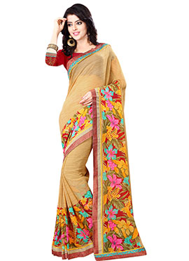 Golden Beige Georgette Printed Saree