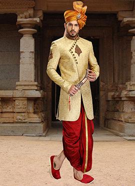 Golden Beige Jacquard Sherwani