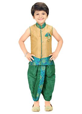 Golden Beige Kids Dhoti Kurta Set