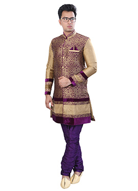Golden beige N Purple Sherwani