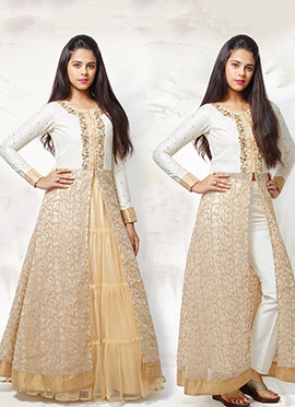 Golden Beige N White Long Choli Lehenga