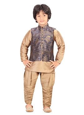 Golden Beige Silk Blend Boys Kurta Pyjama Set