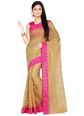 Golden Beige Supernet Saree
