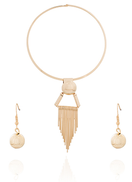 Golden Color Choker Style Necklace Set