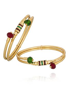 Golden Color Meenakari Worked Bangles