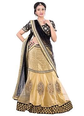 Golden Color Net Lehenga Choli