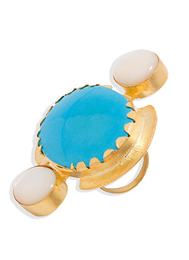 Golden Color Stone Studded Ring