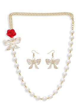 Golden Colored Moti Necklace Set