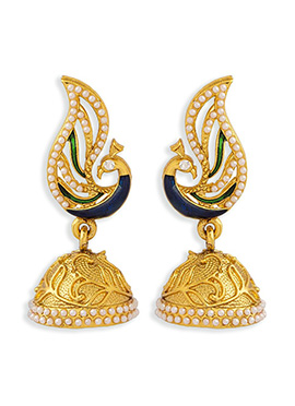 Golden Colored Peacock Style Jhumkas