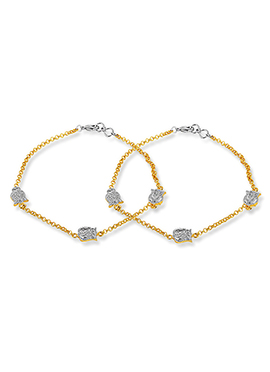 Golden Colored Stone Ornate Anklet