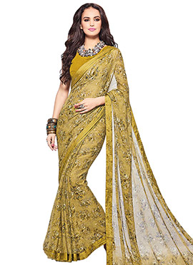 Golden Georgette Printed Saree