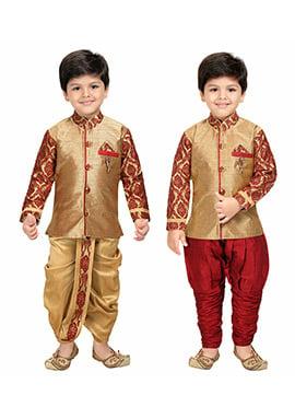Golden Kids Dhoti Kurta N Sherwani Combo