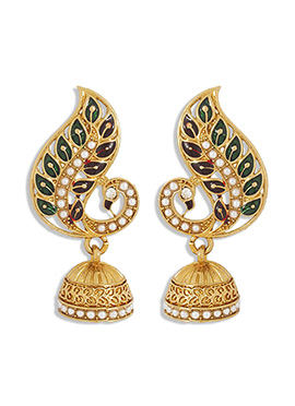 Golden N Green Peacock Style Jhumka
