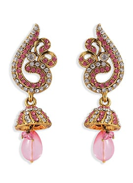 Golden N Light Pink Danglers Earrings