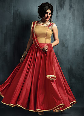 Golden N Maroon Art Silk Anarkali Suit
