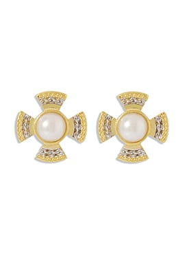 Golden N Off White Studs Earring