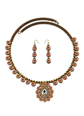 Golden N Peach Colored Choker Necklace Set