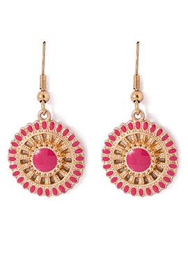 Golden N Pink Colored Meenakari Danglers