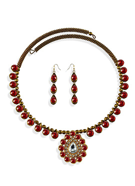 Golden N Red Colored Choker Necklace Set